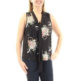 Womens Black Floral Sleeveless Tie Neck HiLo Top Size L