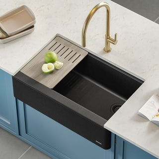 "KRAUS Bellucci Workstation 30"" Quartz Composite Farmhouse Kitchen Sink"