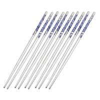 "Unique Bargains 8.9"" Long Flower Print Round Tapered Tip Stainless Steel Chopstick 5 Pairs"