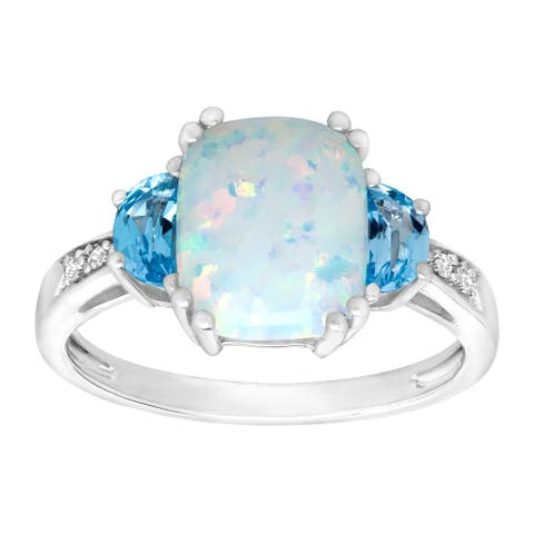 2 3/8 ct Natural Opal & Swiss Blue Topaz Ring with Diamonds in Sterling Silver - White