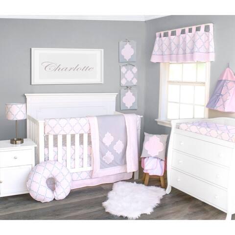 Pink Medallion Crib Bedding Set