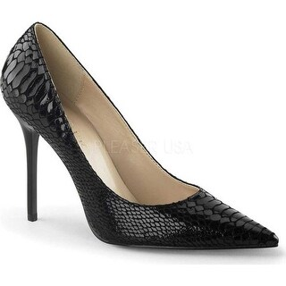 Pleaser Women's Classique 20SP Pointed Toe Pump Black Snake Print Leather