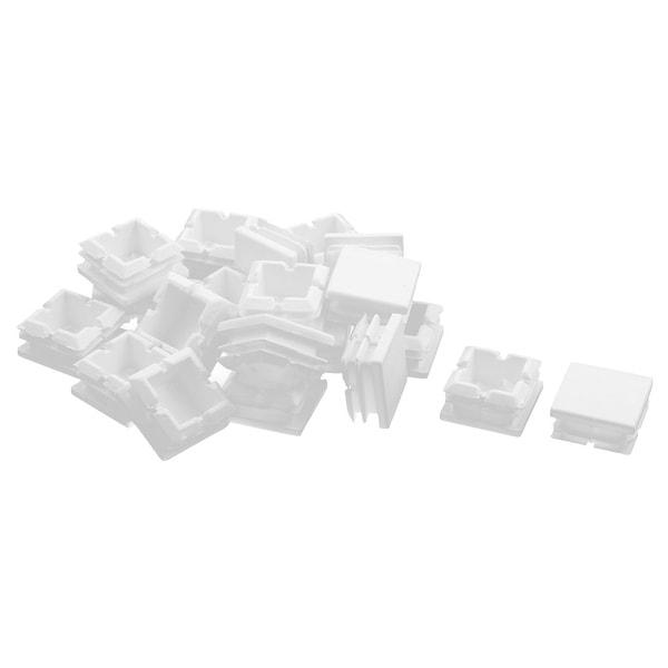 Home Plastic Rectangle Shaped Desk Foot Cover Tube Insert White 25 x 25mm 20pcs