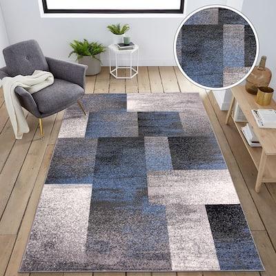 Modern Geometric Boxes Area Rug