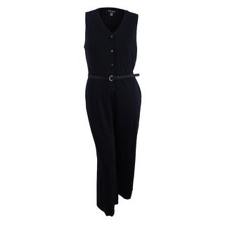 Nine West Women's Pinstriped Jumpsuit - Black/Grey