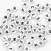 White Round W/Black Letters - Alphabet Beads 7Mm 150/Pkg