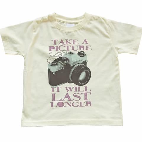 """Light Yellow Children's T-Shirt With Funny Soft Pink """"Take A Picture It Will Last Longer"""" Print In Children's/Toddler"""