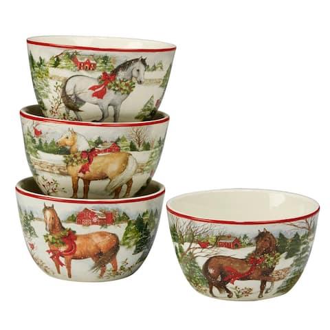 "4pc White and Green Christmas on the Farm Thanksgiving Ice Cream Bowl set 5.5"""