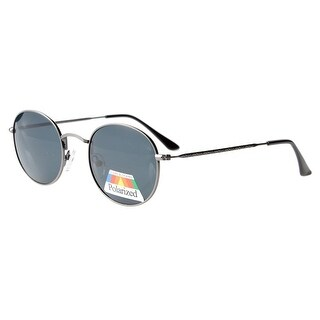 Eyekepper Vintage Style Quality Round Polarized Sunglasses Gunmetal Frame-Grey Lens