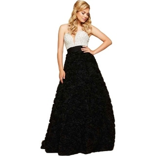 Mac Duggal Womens Mesh Strapless Formal Dress