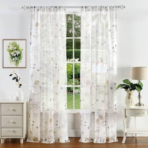 Martha Stewart Martha's Garden Floral Semi-Sheer Curtain Panel Pair