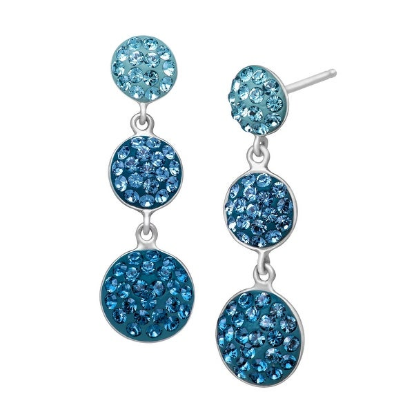 Crystaluxe Triple Circle Drop Earrings with Swarovski elements Crystals in Sterling Silver
