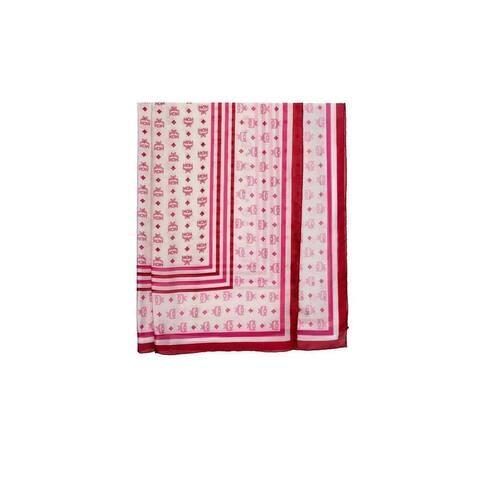 MCM Women's Sugar Pink Silk Chiffon Visetos Stripe Large Scarf Shawl MEF9AMM04QS001