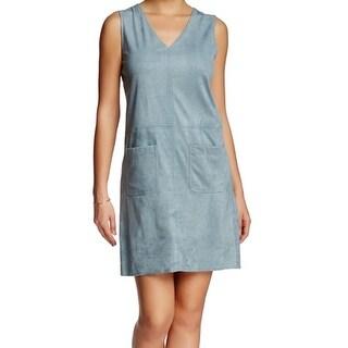 Max Studio NEW Blue Women's Size Large L Faux Suede Shift Dress