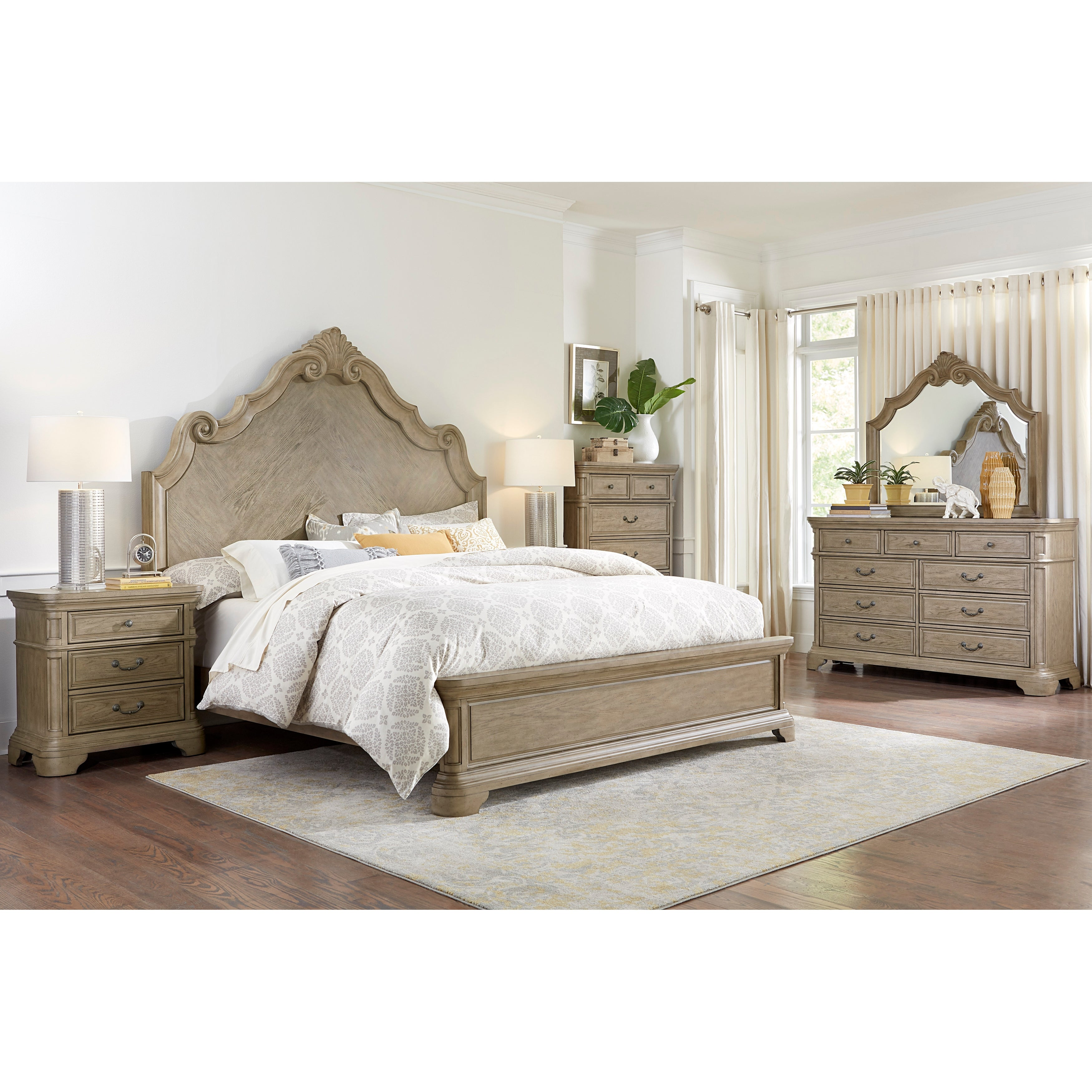 Levan Carved Wood 6 Piece Bedroom Set