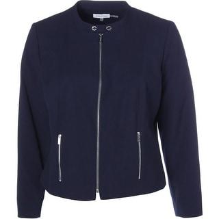 Calvin Klein Womens Plus Ponte Zipper Detail Jacket - 20W