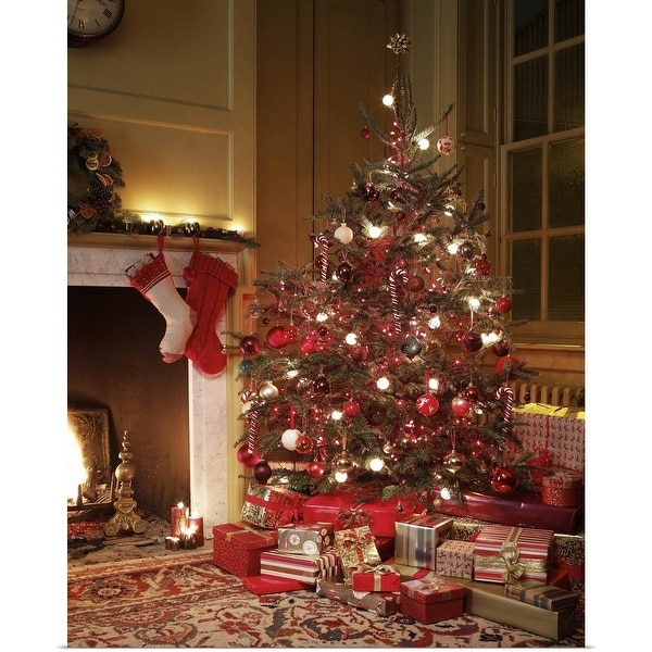 """""""Gifts in front of Christmas tree"""" Poster Print"""