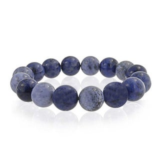 Bling Jewelry Round Blue Simulated Sodalite Bead Stretch Bracelet 12mm