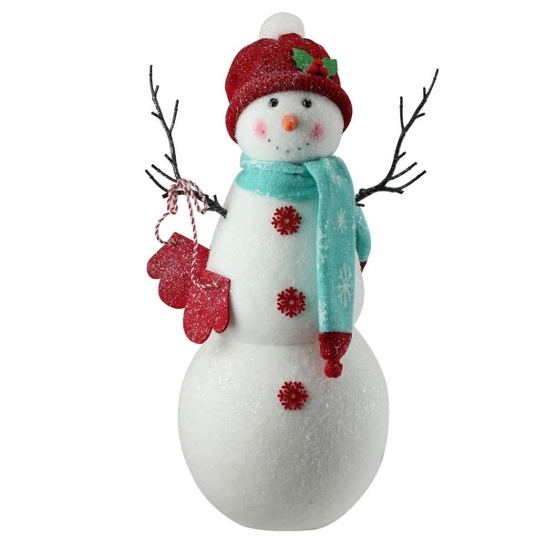 """16.5"""" Tall Sparkly Retro Snowman in Red Hat Christmas Figure Decoration - WHITE"""