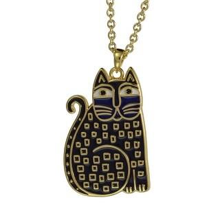 Laurel Burch Indigo Cats Cloisonne Pendant w/ Necklace