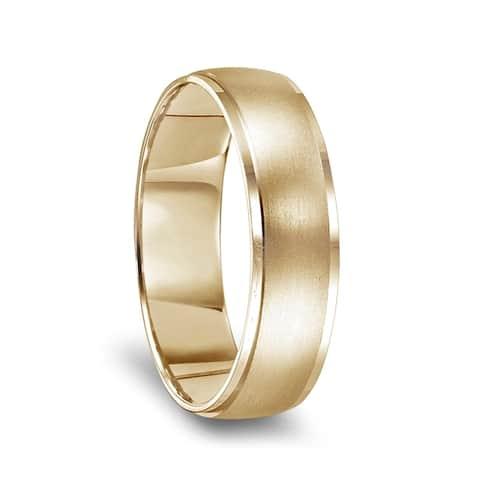 14k Yellow Gold Brushed Center Men's Wedding Ring with Polished Beveled Edges - 6mm