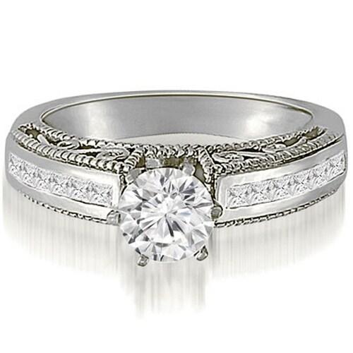 1.35 cttw. 14K White Gold Antique Milgrain Round Cut Diamond Engagement Ring