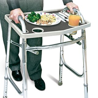 Walker Tray with Non-Slip Grip Mat - Gray