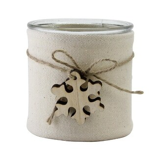 "4.25"" Country Rustic Beige Burlap Wrapped Christmas Jar Decoration with Snowflake"