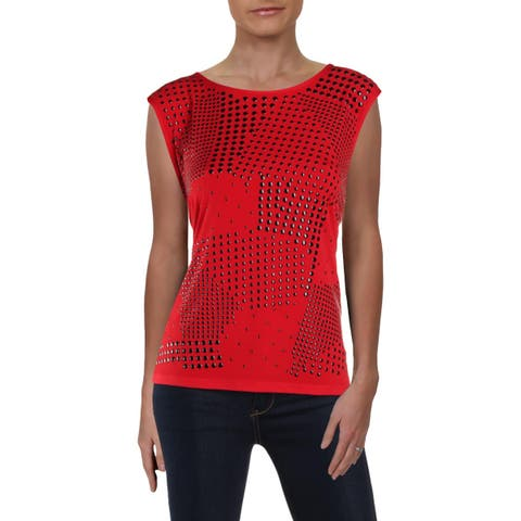 Calvin Klein Womens Pullover Top Studded Cap Sleeve
