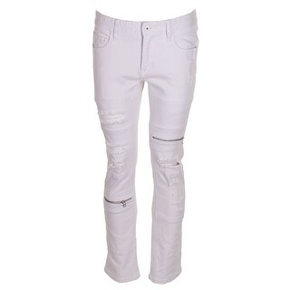 Inc International Concepts Men'S White Wash Zipper Detail Slim-Fit Ripped Jeans - 34X30