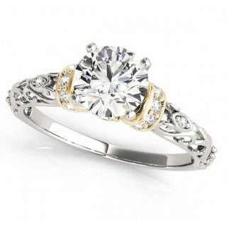 14K White Gold Engagement Ring With Yellow Gold Tone 2.00ctw