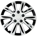 Pilot Automotive Silver 14/ 15/ 16-inch New Design Hubcaps Hub Cap Full Lug Skin with Black Accents Rim Wheel Covers (Pack of 4) - Thumbnail 0