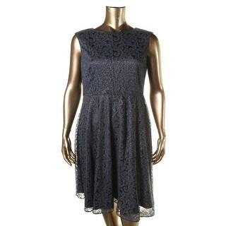 Tahari ASL Womens Cocktail Dress Lace Glitter