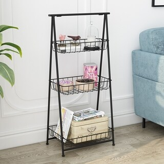 LANGRIA 3 Tier Metal Storage Basket Stand Foldable Wire Shelving