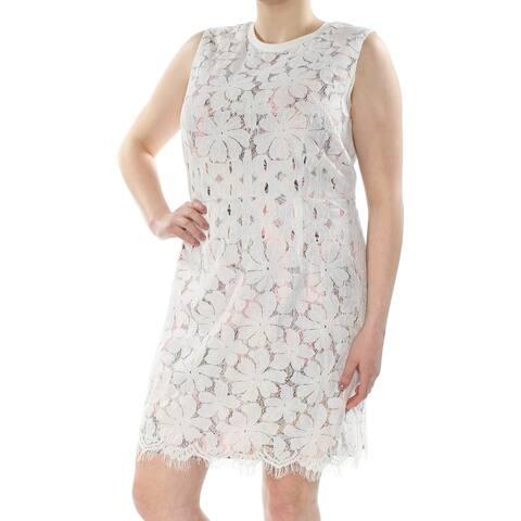 TOMMY HILFIGER Womens Ivory Fringed Floral Sleeveless Jewel Neck Above The Knee Sheath Dress Plus Size: 18W