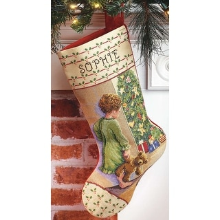 """Christmas Morning Stocking Counted Cross Stitch Kit-18"""" Long 14 Count"""