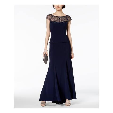 XSCAPE Womens Navy Cap Sleeve Jewel Neck Maxi Evening Dress Size 6