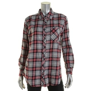 Confess Womens Juniors Cotton Plaid Button-Down Top