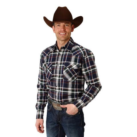 Roper Western Shirt Mens L/S Plaid Snap Green