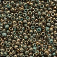 Toho Round Seed Beads 11/0 1703 'Gilded Marble Turquoise' 8 Gram Tube