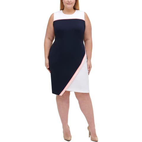 Tommy Hilfiger Womens Plus Scuba Dress Colorblock Asymmetric - Navy Multi - 20W