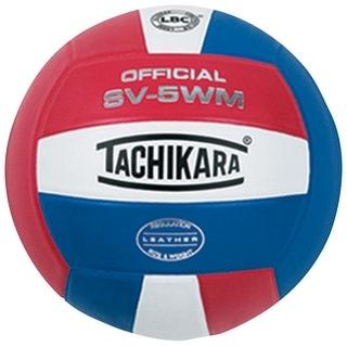 Tachikara SV-5WM NFHS Full Grain Leather Practice Volleyball, Scarlet/White/Navy