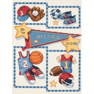 """Baby Hugs Little Sports Birth Record Counted Cross Stitch Ki-9""""X12"""" 14 Count"""