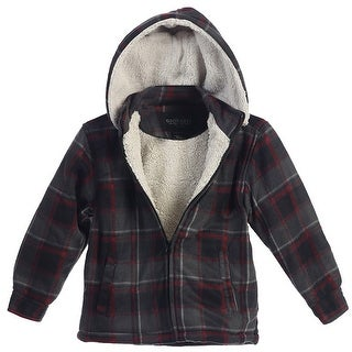 Boys Grey Red Squares Sherpa Lining Detachable Hood Flannel Jacket 8-16