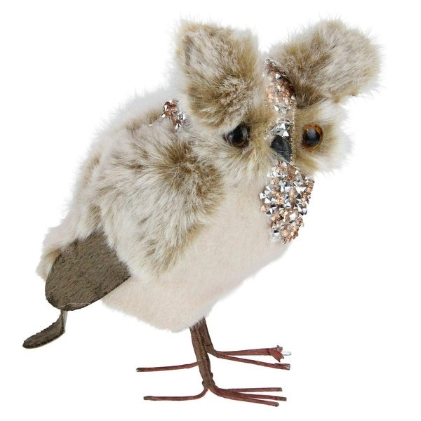 "5"" Champagne Brown Standing Owl Christmas Decoration"