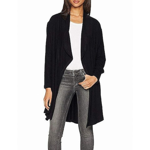 LNA Womens Sweater Rich Black Size Large L Fly Away Front Cardigan
