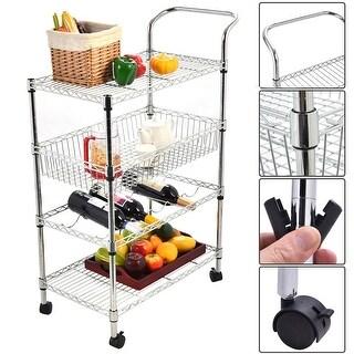 Costway 4-Tier Steel Rolling Kitchen Trolley Cart Island Wire Rack Basket Shelf Stand