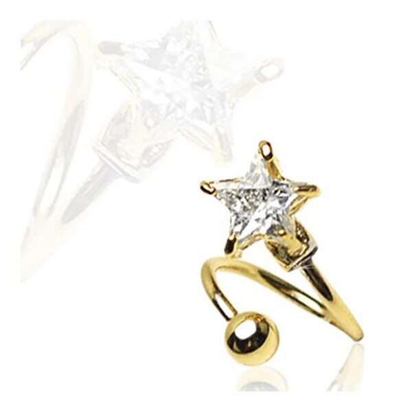 Gold Plated Twist with Prong-Set 7mm Star CZ