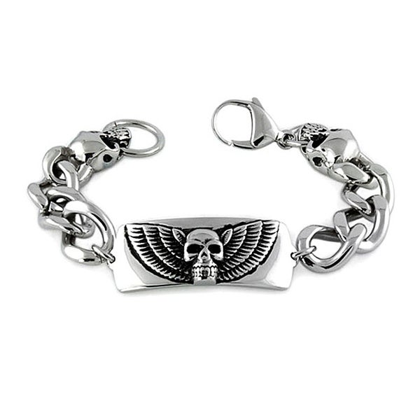 Men's Stainless Steel Skull ID Bracelet - 8.5 inches