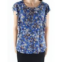 Bobeau Blue Womens Size Medium M Floral Ruffle Lattice-Neck Knit Top
